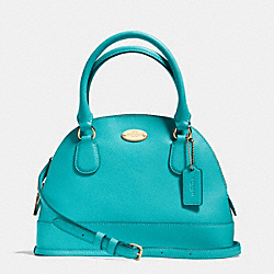 COACH MINI CORA DOMED SATCHEL IN CROSSGRAIN LEATHER - LIGHT GOLD/CADET BLUE - F34090