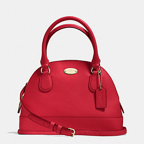 COACH f34090 MINI CORA DOMED SATCHEL IN CROSSGRAIN LEATHER IMITATION GOLD/CLASSIC RED