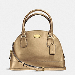 COACH MINI CORA DOMED SATCHEL IN CROSSGRAIN LEATHER - IMITATION GOLD/GOLD - F34090