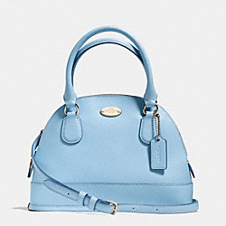 COACH MINI CORA DOMED SATCHEL IN CROSSGRAIN LEATHER - LIGHT GOLD/PALE BLUE - F34090