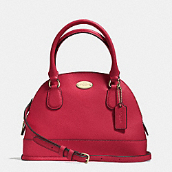 COACH MINI CORA DOMED SATCHEL IN CROSSGRAIN LEATHER - LIGHT GOLD/RED - F34090