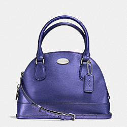 COACH MINI CORA DOMED SATCHEL IN CROSSGRAIN LEATHER - SILVER/METALLIC PURPLE IRIS - F34090