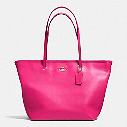 STREET ZIP TOTE IN CROSSGRAIN LEATHER - f34103 -  LIGHT GOLD/PINK RUBY