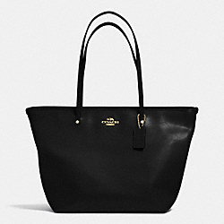 COACH STREET ZIP TOTE IN LEATHER - LIGHT GOLD/BLACK - F34103