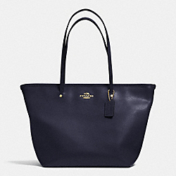 COACH STREET ZIP TOTE IN LEATHER - LIGHT GOLD/MIDNIGHT - F34103