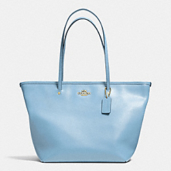 COACH STREET ZIP TOTE IN CROSSGRAIN LEATHER - LIGHT GOLD/PALE BLUE - F34103