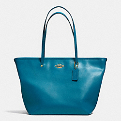 COACH STREET ZIP TOTE IN LEATHER - LIGHT GOLD/TEAL - F34103