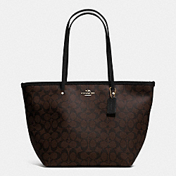 COACH SIGNATURE STREET ZIP TOTE - LIGHT GOLD/BROWN/BLACK - F34104