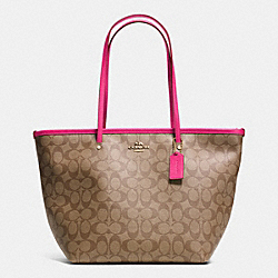 ZIP STREET TOTE IN SIGNATURE CANVAS - f34104 -  LIGHT GOLD/KHAKI/PINK RUBY