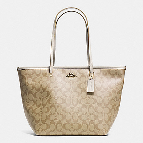 COACH f34104 SIGNATURE STREET ZIP TOTE LIGHT GOLD/LIGHT KHAKI/CHALK