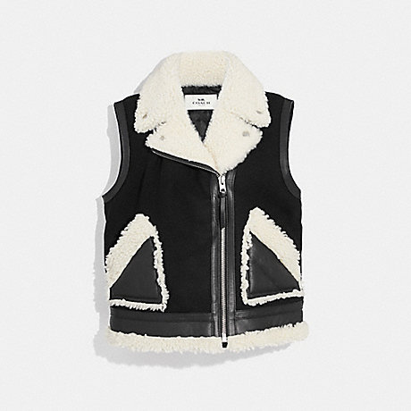COACH SHEARLING AND WOOL VEST - BLACK - F34124