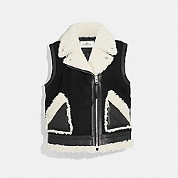 SHEARLING AND WOOL VEST - BLACK - COACH F34124