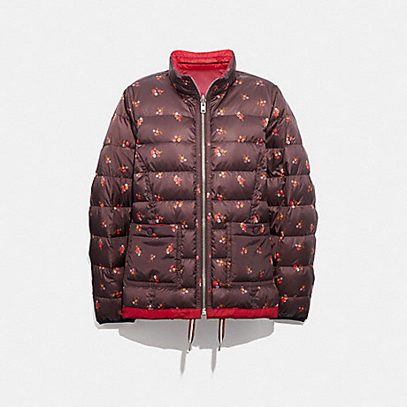 COACH REVERSIBLE QUILTED JACKET - CLASSIC RED/MULTI - F34158