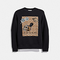 DISNEY X COACH SIGNATURE SWEATSHIRT WITH PATCHES - BLACK - COACH F34203