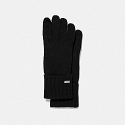 COACH EMBOSSED SIGNATURE KNIT TOUCH GLOVES - BLACK - F34259