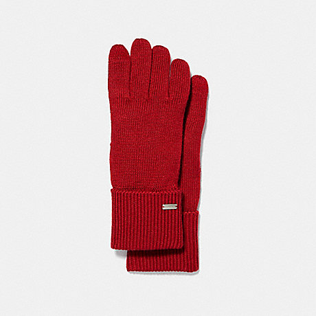 COACH EMBOSSED SIGNATURE KNIT TOUCH GLOVES - BRIGHT RED - F34259
