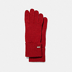 EMBOSSED SIGNATURE KNIT TOUCH GLOVES - BRIGHT RED - COACH F34259