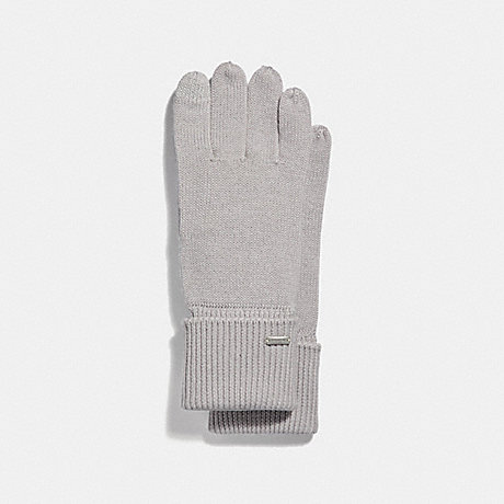 COACH EMBOSSED SIGNATURE KNIT TOUCH GLOVES - ICE - F34259