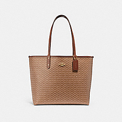 REVERSIBLE CITY TOTE WITH LEGACY PRINT - NEUTRAL/LIGHT GOLD - COACH F34263