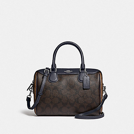 COACH MINI BENNETT SATCHEL IN BLOCKED SIGNATURE CANVAS - SV/BROWN MIDNIGHT - F34279