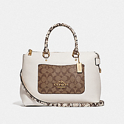 EMMA SATCHEL IN SIGNATURE CANVAS COLORBLOCK - KHAKI MULTI /IMITATION GOLD - COACH F34280