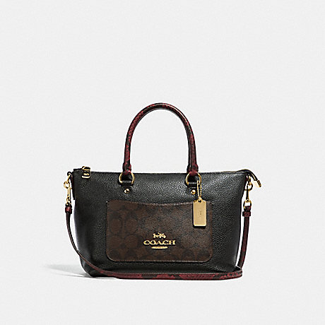 COACH MINI EMMA SATCHEL IN SIGNATURE CANVAS COLORBLOCK - BROWN BLACK/MULTI/LIGHT GOLD - F34281