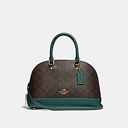 MINI SIERRA SATCHEL IN SIGNATURE CANVAS - BROWN/DARK TURQUOISE/LIGHT GOLD - COACH F34290