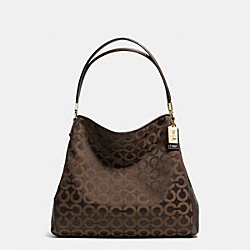 COACH MADISON OP ART SATEEN SMALL PHOEBE SHOULDER BAG - LIGHT GOLD/KHAKI/MAHOGANY - F34293