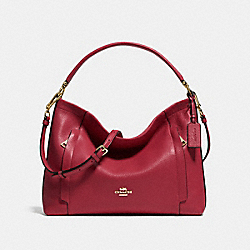 SCOUT HOBO IN PEBBLE LEATHER - LIGHT GOLD/BLACK CHERRY - COACH F34312