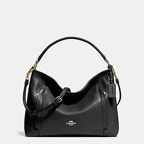 COACH SCOUT HOBO IN POLISHED PEBBLE LEATHER - LIGHT GOLD/BLACK - f34312