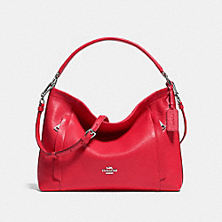 SCOUT HOBO IN PEBBLE LEATHER - f34312 - SILVER/TRUE RED