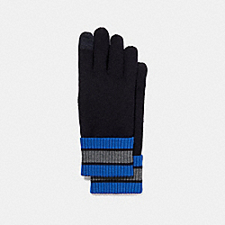 COACH VARSITY STRIPE KNIT GLOVE - MIDNIGHT NAVY/DENIM - F34323