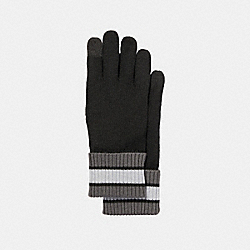 COACH VARSITY STRIPE KNIT GLOVE - BLACK/GRAPHITE - F34323