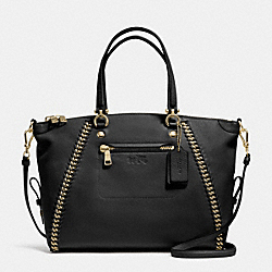 PRAIRIE SATCHEL IN WHIPLASH LEATHER - f34339 - LIGHT GOLD/BLACK