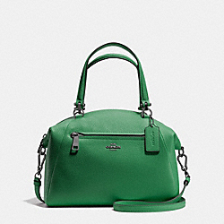 PRAIRIE SATCHEL IN PEBBLE LEATHER - f34340 - DARK GUNMETAL/GRASS