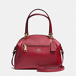 PRAIRIE SATCHEL IN PEBBLE LEATHER - f34340 - LIGHT GOLD/BLACK CHERRY