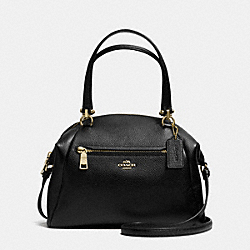 PRAIRIE SATCHEL IN PEBBLE LEATHER - f34340 - LIGHT GOLD/BLACK