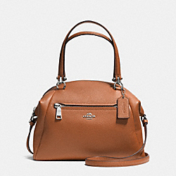 PRAIRIE SATCHEL IN PEBBLE LEATHER - f34340 - SILVER/SADDLE