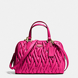 COACH MINI NOLITA SATCHEL IN GATHERED LEATHER - LIGHT GOLD/PINK RUBY - F34370