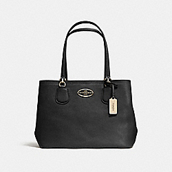 COACH KITT CARRYALL IN CROSSGRAIN LEATHER - LIGHT GOLD/BLACK - F34388