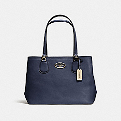 COACH KITT CARRYALL IN CROSSGRAIN LEATHER - LIGHT GOLD/NAVY - F34388