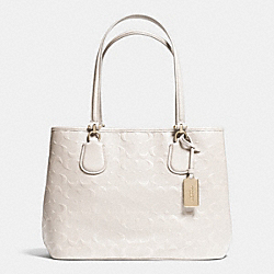 COACH EMBOSSED LOGO KITT CARRYALL IN LEATHER - LIGHT GOLD/CHALK - F34403
