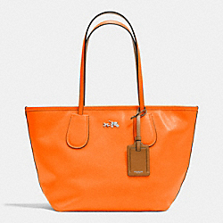 COACH C.O.A.C.H. TAXI ZIP TOP TOTE IN CROSSGRAIN LEATHER - SILVER/NEON ORANGE - F34406