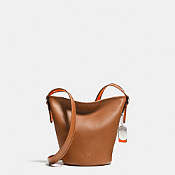 C.O.A.C.H. MINI DUFFLE IN CALF LEATHER - SILVER/SADDLE/NEON ORANGE - COACH F34411