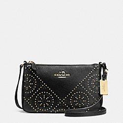 COACH MINI STUDS ZIP TOP CROSSBODY IN PEBBLE LEATHER - LIGHT GOLD/BLACK - F34426