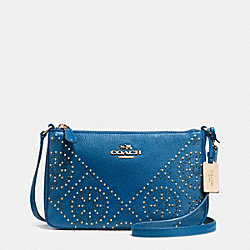 COACH MINI STUDS ZIP TOP CROSSBODY IN PEBBLE LEATHER - LIGHT GOLD/DENLIGHT GOLD - F34426