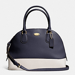 COACH CORA DOMED SATCHEL IN BICOLOR CROSSGRAIN LEATHER - LIGHT GOLD/MIDNIGHT/CHALK - F34491