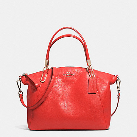 COACH f34493 SMALL KELSEY SATCHEL IN PEBBLE LEATHER LIGHT GOLD/CARDINAL