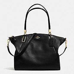 COACH PEBBLE LEATHER KELSEY SATCHEL - LIGHT GOLD/BLACK - F34494
