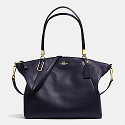COACH PEBBLE LEATHER KELSEY SATCHEL - LIGHT GOLD/MIDNIGHT - F34494